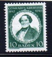 Baden  /  N 47 / 10 Pf Vert /  NEUF** - Baden