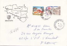 Enveloppe Du 14 Juin 1989 De Ile De Sein Pour Saint-Just Saint-Rambert ( Timbres Français Et Grec ) - Covers & Documents