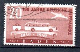 Baden  /  N 52 / 20 Pf Brun /  Oblitéré - Baden