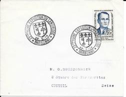 AUDE 11   - NARBONNE    - CACHET N° 1992 - DESCRIPTION - 1958 - TIMBRE N° 1160  -  TARIF 1 7 57  - SEUL SUR LETTRE - Postmark Collection (Covers)