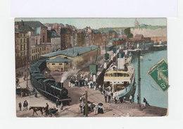 Dieppe. Vue De La Gare Marchande. Avec Locomotive à Vapeur, Bateaux, Attelage. (3023) - Dieppe