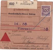 ALLEMAGNE   COLIS POSTAL  CONTRE -REMBOURSEMENT DE LECK - Briefe U. Dokumente