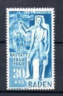 Baden  /  N 55 / 30 + 15 Pf Bleu /  NEUF ** - Franse Zone