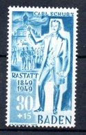 Baden  /  N 55 / 30 + 15 Pf Bleu /  NEUF ** - Baden