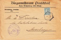 Env Affr Y&T 130 Obl PREUSCHDORF Du 18.10.19 Adressée à Strasbourg - Marcophilie (Lettres)