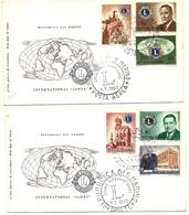 1960 - San Marino 530/34 + PA 136 Fondazione Lion's Club - FDC, - Rotary, Lions Club