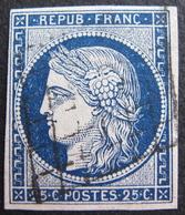 R1530/11 - CERES N°4a Bleu Foncé - GRILLE NOIRE - Cote : 70,00 € - 1849-1850 Cérès