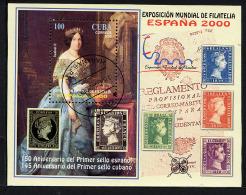 CUBA 2000, ESPANA 2000, Isabel II, Timbres Sur Timbres, 1 Bloc Oblitéré / Used. R1371 - Gebraucht