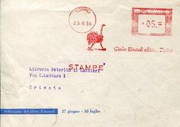 35613 Italia, Red Meter/freistempel/ema/1956 Torino Giulio Einaudi Editore,showing Ostrich,autruche,strauss - Marcofilia - EMA ( Maquina De Huellas A Franquear)