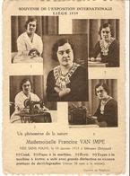 Iddergem ( Denderleeuw ) : Souvenir De L'exposition Internationale Liège 1939 --- Mademoiselle Francine Van Impe - Denderleeuw