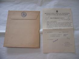 WW2 MINISTERO DELLA GUERRA BUSTA+LETTERA TELEGRAMMA CONDOGLIANZE VERCELLI 1941 - Documents Historiques