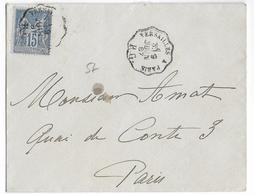 """1887 - SAGE - LETTRE Avec AMBULANT VERSAILLES à PARIS """"RG"""" - Marcophilie (Lettres)"""