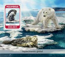 MOZAMBIQUE 2018 - Penguins, Global Warming S/S. Official Issue - Pinguïns & Vetganzen