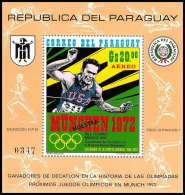 Paraguay - 011 - BLOC Numéroté Jeux Olympiques (olympic Games) MUNICH 72 Overprint Surcharge Muestra (specimen) - Sommer 1972: München