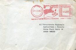 35628 Italia, Red Meter/freistempel/ema/1984 Regione Lombardia Agricoltura Foreste Verde è Bello - Affrancature Meccaniche Rosse (EMA)