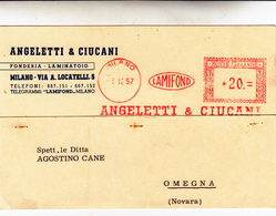 Milano Per Omegna, Cartolina Postale Pubblicitaria Etichetta Rossa 1957 - 6. 1946-.. Repubblica