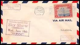 0635 Lettre USA Aviation Premier Vol (Airmail Cover First Flight Luftpost) 1931 Carrington Sky Show - Air Mail