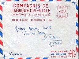 35643  Cote Francaise Des Somalis, Red Meter/freistempel/ema/1961 Djibouti Compagnie De Afrique Orientale Circuled Cover - Côte Française Des Somalis (1894-1967)