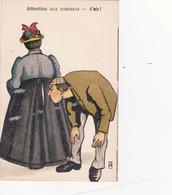 CPA Femme Grosse Robe Fendue Aux Fesses Monsieur Reniflant ... Les Fesses Pet Prout Gaz Humour Illustrateur - Humour