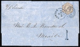 1854. VICTORIA WITH DIADEM 6 PENCE GREY-LILAC ON FOLDED LETTER. SENT VIA SYDNEY TO MANILA, PHILIPPINES. - Usados
