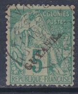 Guyane N° 19 O Timbres Type Déesse Assise : 5 C. Vert Oblitération Légère, 1 Dent Courte Sinon TB - Used Stamps