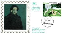 LETTRE GRAND FORMAT (1ER JOUR) - FDC - PABLO PICASSO - 15 MAI 1998 A VILLEURBANNE - CÔTE : 7 EUROS - FDC