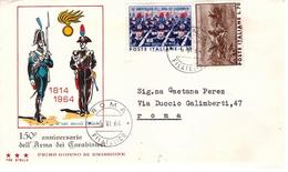 Fdc Tre Stelle : ARMA CARABINIERI 1964  ; No Viaggiata; AF_Roma - F.D.C.