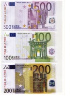 """Copie/Fac-similé 3 Billets 100  200 500 Euros """"MEMO""""  UNC - Fictifs & Spécimens"""