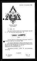 BERICHT OVERLIJDEN FRANC MACON MACONNIQUE LOGE -  LEON LAMPO - GENTBRUGGE 1923 - GENT 1985 - Overlijden