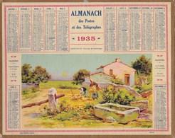 Almanach Des Postes Et Télégraphes 1935 Illustré Ernest Louis Lessieux  Crepuscule Paysage De Saintonge Paysans Blés - Calendriers