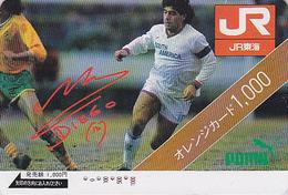 Carte Orange Japon  - FOOTBALL - DIEGO MARADONA  ARGENTINA - SOCCER Japan Prepaid JR Card - 1145 - Sport