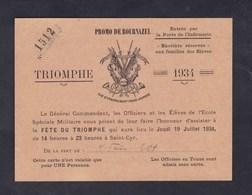 Saint Cyr Fête Du Triomphe 1934 Promo Bournazel Cachet Sec Ecole Speciale Militaire Invitation De La Part De M. Frison - Documents