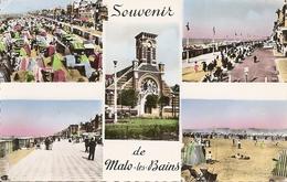 59. CPSM. Nord. Malo-les-Bains. Multi-vues (5 Vues) (animée, Personnages) - Malo Les Bains