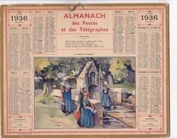 Almanach Des Postes Et Télégraphes 1936 Illustré La Fontaine De Daoulas Finistere Signée Surin? - Calendriers