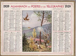 Almanach Des Postes Et Télégraphes 1939 Illustré A Nemecek Chasse Aux Faisans Et Chien Chasseur Tirant Un Faisan - Big : 1921-40