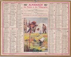 Almanach Des Postes Et Télégraphes 1937 Illustré Chasseurs Sautant A La Perche Par Dessus Un Ruisseau Chasse - Big : 1921-40