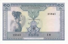 BILLETE DE LAOS DE 10 KIP DEL AÑO 1962  SIN CIRCULAR - UNCIRCULATED (BANKNOTE) ELEFANTE-ELEPHANT - Indochina
