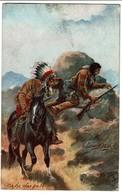 Carte Illustrateur Harry Payne - Indiens - On The War Path - Edit. Oilette Wild West USA Serie II / 9532 - 2 Scans - Indiens De L'Amerique Du Nord