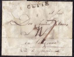 1807. CETTE POUR TARRAGONA (ESPAGNE). LETTRE PURIFIÉE. - 1801-1848: Precursores XIX