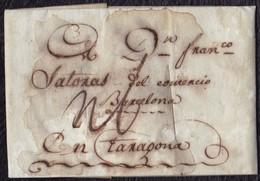 1802. CETTE POUR TARRAGONA (ESPAGNE). LETTRE PURIFIÉE. - 1801-1848: Precursores XIX