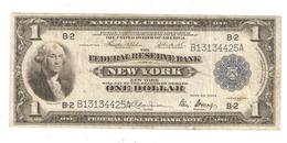 1918 United States Federal Reserve Bank Of New York, 1 Dollar Bill, One Dollar Large Note - Flying Eagle - Large Size - Taglia Grande (...-1928)
