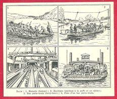 Bacs, Romain (halage), Rustique, Porte Train (ferry Boat), Illustration Louis Bombled Larousse 1951 - Vieux Papiers