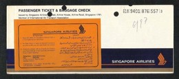 Singapore Airlines Transport Ticket Used Passenger Ticket 3 Scan - Transportation Tickets