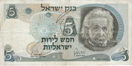 BILLETE DE ISRAEL DE 5 LIROT DEL AÑO 1968  (BANKNOTE) ALBERT EINSTEIN - Israel