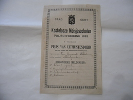 PAGELLA DIPLOMA BELGIO STAD GENT KOSTELOOZE MEISJESSCHOLEN PRIJSUITREIKING 1912 - Diplomi E Pagelle