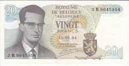 BILLETE DE BELGICA DE 20 FRANCOS DEL AÑO 1964 SERIE 3R EN CALIDAD EBC (XF)   (BANK NOTE) - [ 6] Treasury
