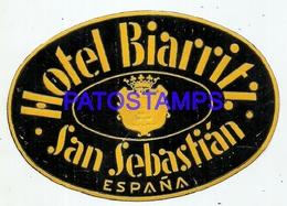 95720 SPAIN ESPAÑA SAN SEBASTIAN HOTEL BIARRITZ LUGGAGE NO POSTAL POSTCARD - Hotel Labels