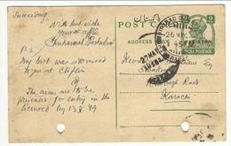 British India Overprint Pakistan (9ps) Postcard Uesd Hhdeabad 26May1949 - Pakistan