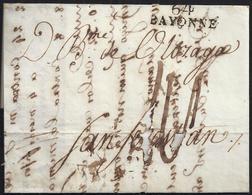 1803. BAYONA A SAN SEBASTIÁN. MARCA 64/BAYONNE EN NEGRO. PORTEO MANUSCRITO. CURIOSA. - 1801-1848: Precursores XIX