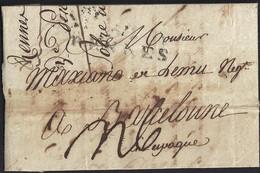1803. RENNES A BARCELONA. MARCA 34/RENNES EN NEGRO. PORTEO MNS. 6 REALES. MANCHAS DE VINAGRE POR DESINFECCIÓN. CURIOSA. - 1801-1848: Precursores XIX